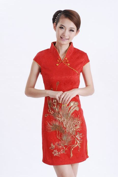 New Red Chinese Womens Cotton Mini Cheongsam Embroidery Qipao Wedding Party Dress Peacock Pattern Size S M L XL XXL S015-AОдежда и ак�е��уары<br><br><br>Aliexpress