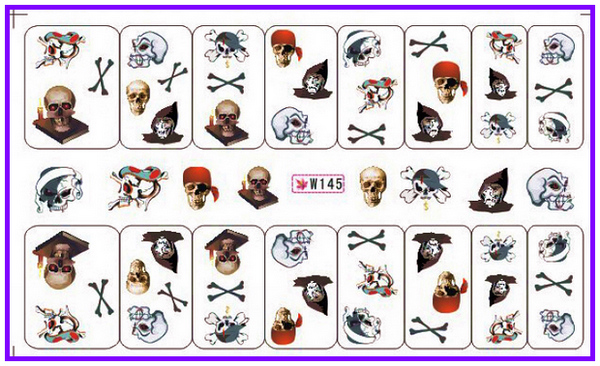 GLITTER POWDER NAIL TATTOOS STICKER WATER DECAL NAIL ART HALLOWEEN SCARY FACES CROSS BONES BAT W145-150(China (Mainland))