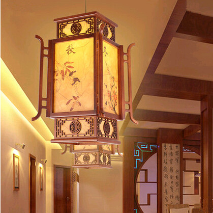 Chinese antique four seasons painting coffee wood art Pendant Lights Rural style brief lamps for balcony&corridor&porch&stairs(China (Mainland))
