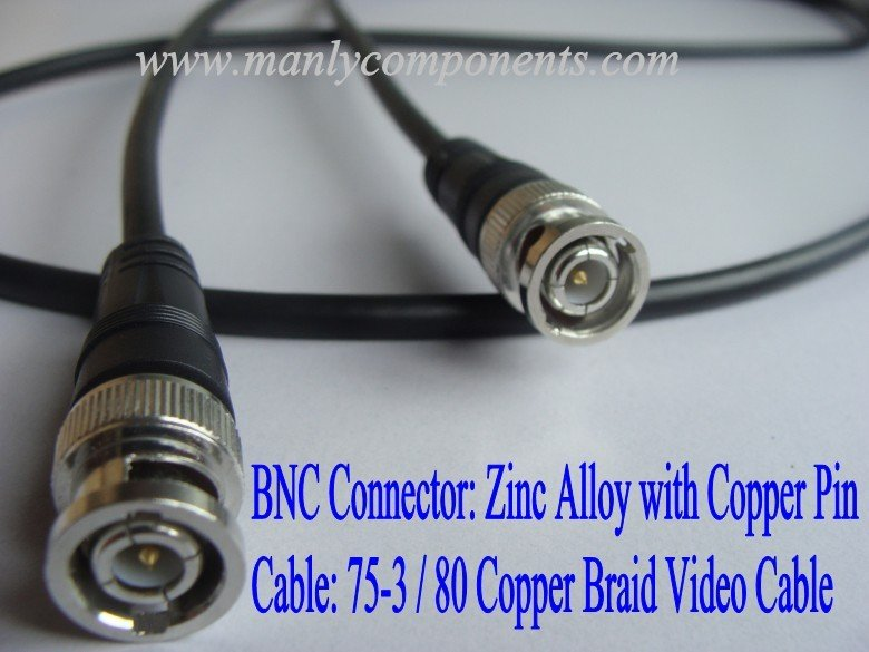 Wholesale BNC Connector 75-3 80 Braid Video RG59 Cable 2m Length for CCTV(China (Mainland))