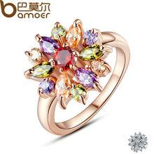 BAMOER 3สี18พันกุหลาบชุบทองแหวนนิ้วสำหรับผู้หญิงที่มีAAAหลากสีประดับเพชรแต่งงานBerloque #6 7 8 9 JIR031