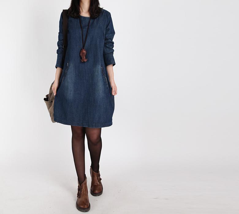 2015 Autumn Winter Plus Size Long Sleeve Jeans Dress Vestido Women Vintage Loose Blouse Denim DressT Shirt Dress Robe Vestidos