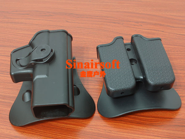 Polymer Retention Roto Holster for Glock 19/23/25/28/32 - Right Handed Gen 4 Compatible and Double magazine Pouch 9/40<br><br>Aliexpress