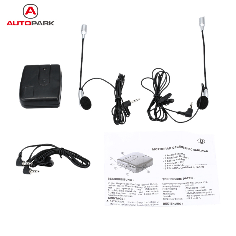 Hot Helmet to Helmet Communicator Motorcycle Intercom Motorbike Helmet Headset Intercom 2-Way Communication System Earphone+Mic(China (Mainland))