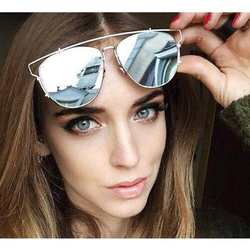 New summer style technologic reflective metal frame luxury brand sunglasses women brand designer Retro vintage sun glasses(China (Mainland))