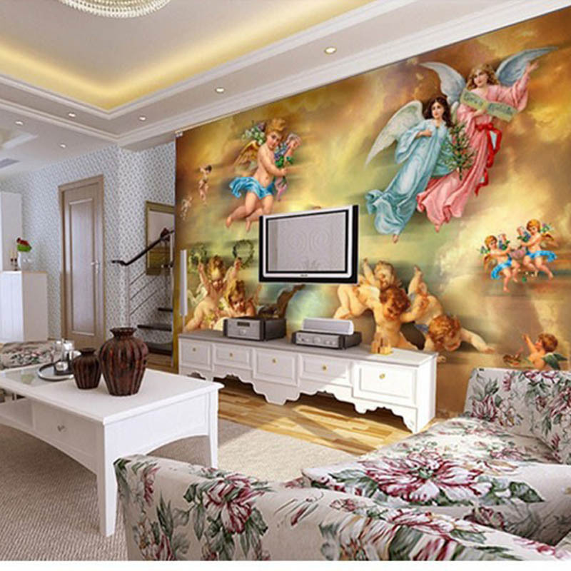 Wallpaper ceiling painting for Ceiling mural wallpaper