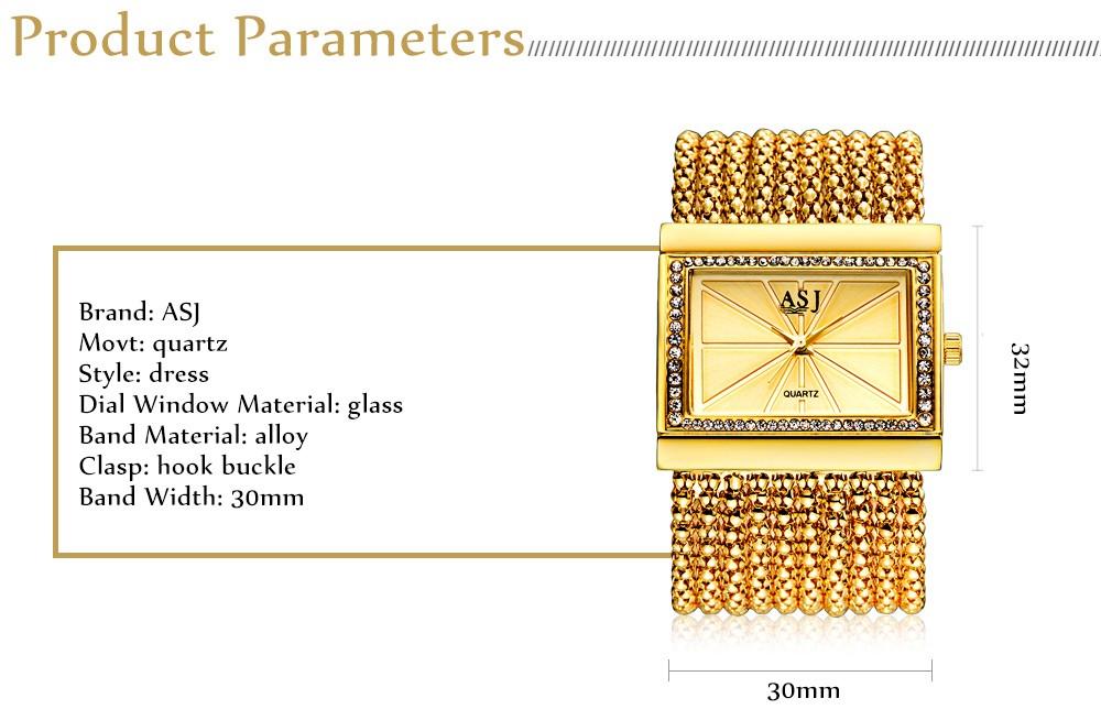 ASJ Женщины Кварцевые Часы Искусственный Алмаз Rectangle Набора Твининг Сеть Ремешок Браслет Наручные Часы