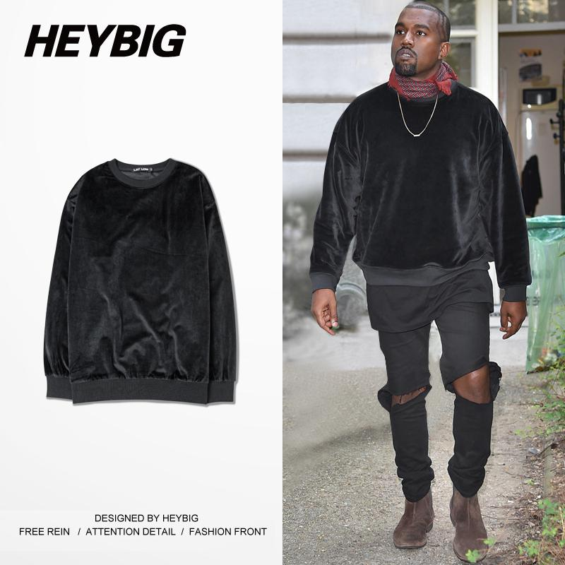 velvet mens hoodie kanye west crew neck brand sweatshirts. Black Bedroom Furniture Sets. Home Design Ideas