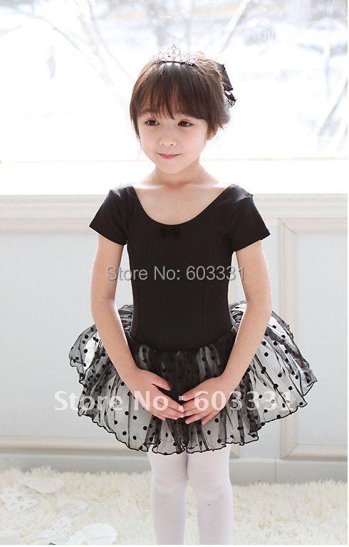 Black Girls Short Sleeve Ballet Leotard Tutu Child Party Dance Costume SZ 3-8 Years - dance dress store