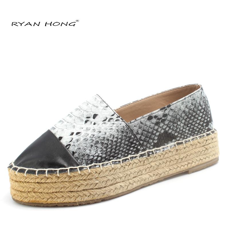 Alpargatas de Lona de la plataforma de las mujeres Pisos alpargatas de Cáñamo para mujer zapatos