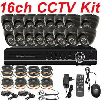 Top selling brand new 16ch cctv kit complete cctv security system installation dome camera HDMI HD D1 DVR real time monitoring