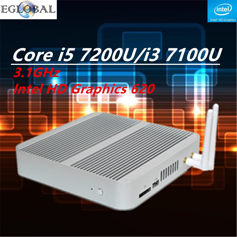 Fanless Barebone Mini PC Core i5 7200U/i3 7100U Kaby Lake PC Win10 Mini Desktop Nuc 4K HTPC Fanless Nuc Intel HD Graphics 620(China (Mainland))
