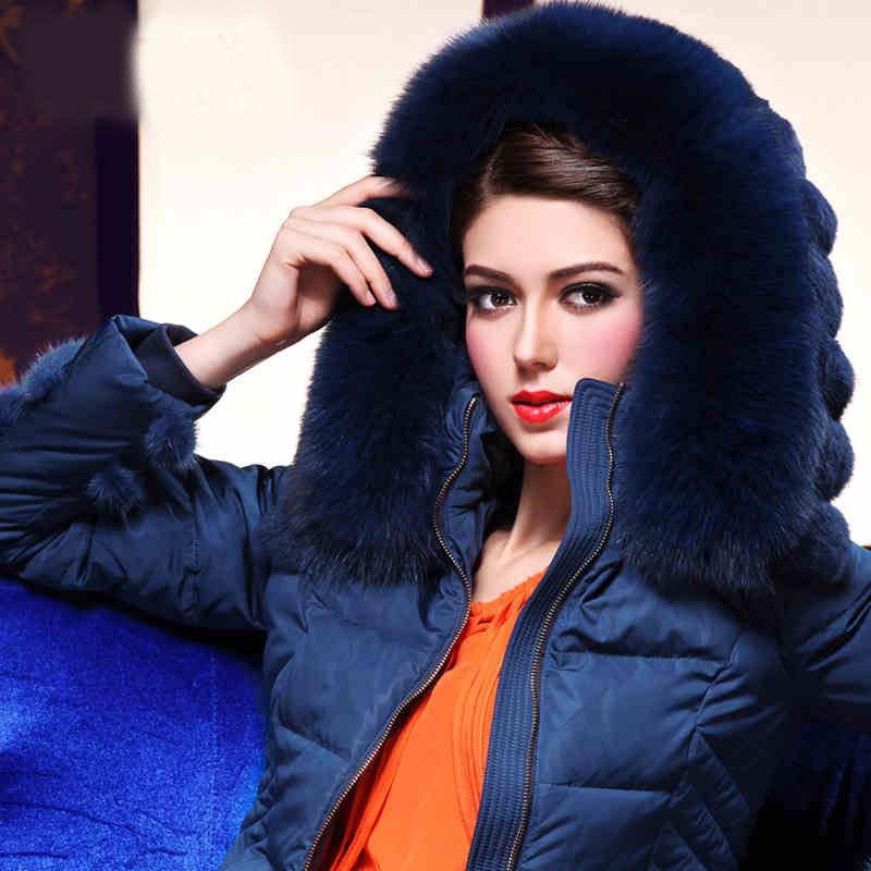 2014 Winter Thicken Warm Woman Down Jacket Hooded Coats Outerwear Luxury Brand Fox Fur collar Long Parka Plus Size 4XXXXL Black Одежда и ак�е��уары<br><br><br>Aliexpress