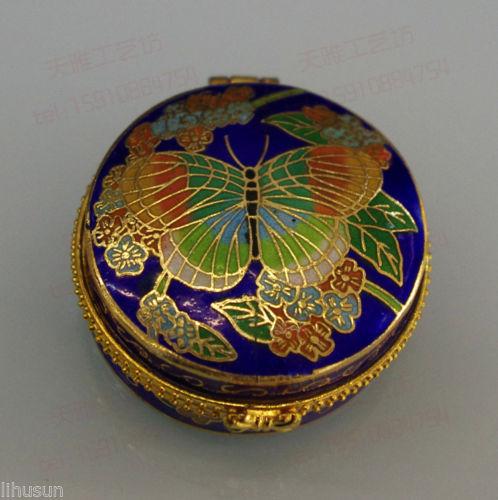 Wholesale 5*4*2cm blue Classic Chinese Butterfly Cloisonne Jewelry Box Powder Case Box(China (Mainland))