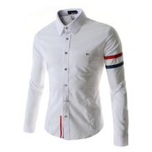 Mens Dress Shirts Striped 2015 Brand Quality Elegant Stand Collar Casual  Fashion Slim Fit Long sleeve Social Shirt(China (Mainland))