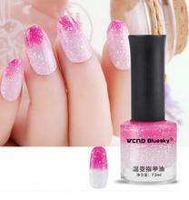 1 Bottle 7.5ml Glitter Thermal Nail Polish White & Pink Temperature Color Changing Nail Polish Nail Art Varnish color#6  #22746(China (Mainland))