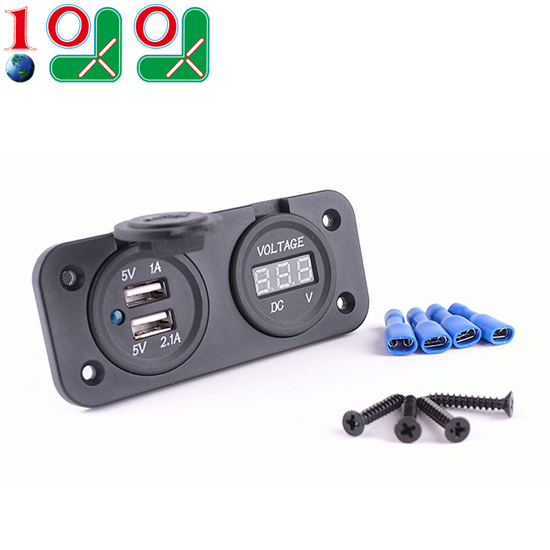 10L0L Motorcycle Handlebar Handle Bar Clamp Charger Power Port Socket Set Car Dual 12-24v Voltmeter UBS 12v C845 - Mall 9.99 store