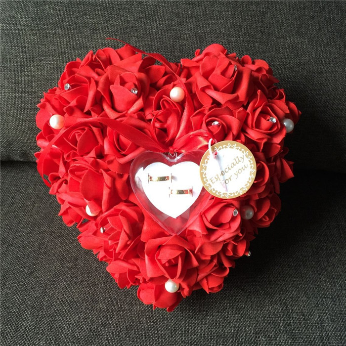 Red Heart-Shaped Ring Pillow Wedding Supplies Vitage Decoration Wedding Ring Pillow Box Wedding Event And Party(China (Mainland))