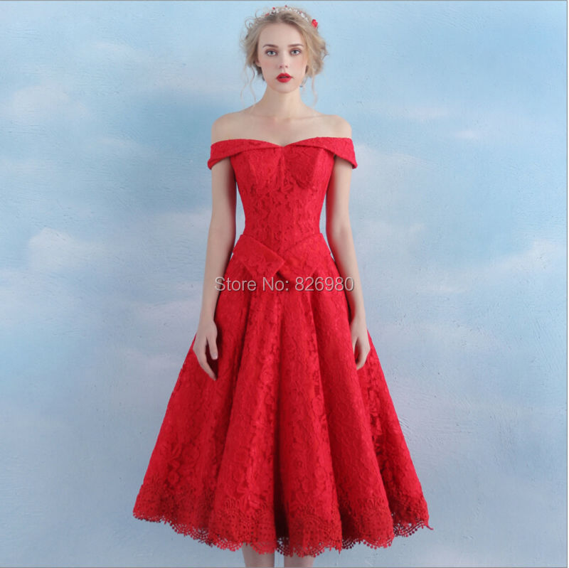 Real picture vintage tea length lace off the shoulder red for Formal dress for wedding guests