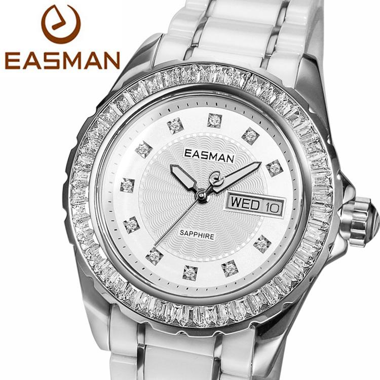 EASMAN Brand Designer White Ceramic Ladies Watch Zircon Gems Date Day Wristwatches Quartz Watches for Women<br><br>Aliexpress