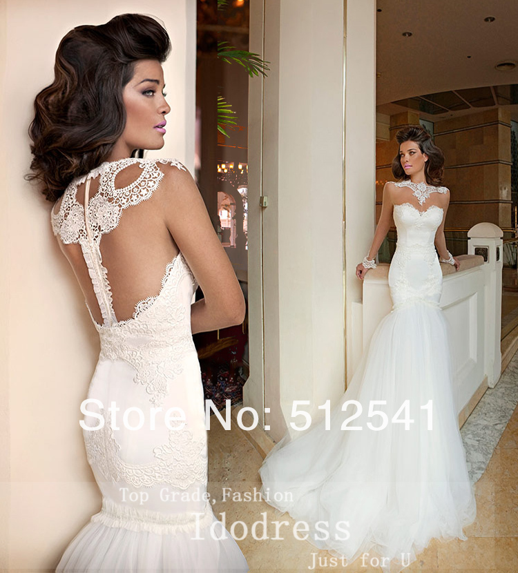 elegant sheer scoop trumpet mermaid wedding dresses transparent long sleeves applique organza bridal gown yk8r847