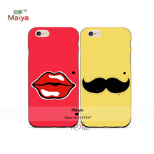 2pcs/Lots Lovers Lips Moustache Best Friends Lover Phone Cases For Iphone6 6plus Case Cover Valentine's Gift