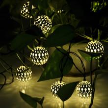 Blanc chaud 10 balles / Set gros marocaine cordes LED guirlande lumineuse de noël décoration lampe LED solaire(China (Mainland))