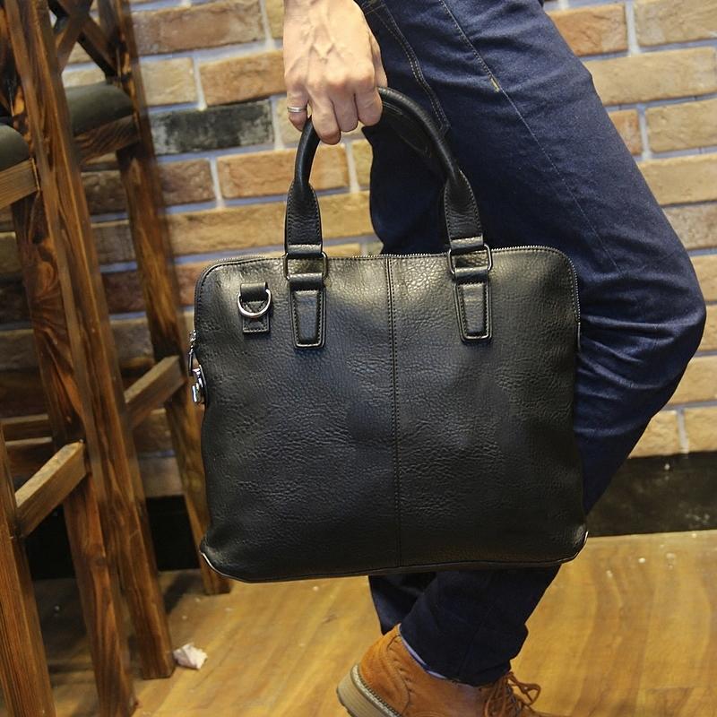 Genuine Leather Mens Briefcase Laptop Bags for Macbook 13.3 Men's Travel Bag Soft Leather Shoulder Bags Business Man Handbag(China (Mainland))