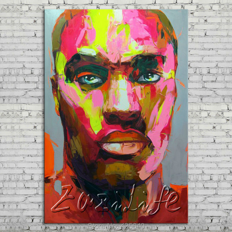 Buy Palette knife portrait Face Oil painting Character figure canvas Hand painted Francoise Nielly wall Art picture 74 cheap