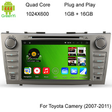 Quad-Core car dvd gps navigation for toyota camry 2007-2011 8 inch 1024*600 HD screen 2 din Android 4.4.4 Car CD player radio 3G(China (Mainland))