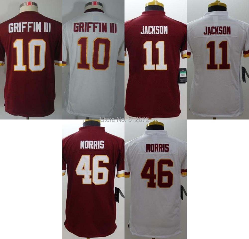 Washington Kids Youth Authentic #10 Robert Griffin III #11 DeSean Jackson #46 Alfred Morris Football Jersey(China (Mainland))