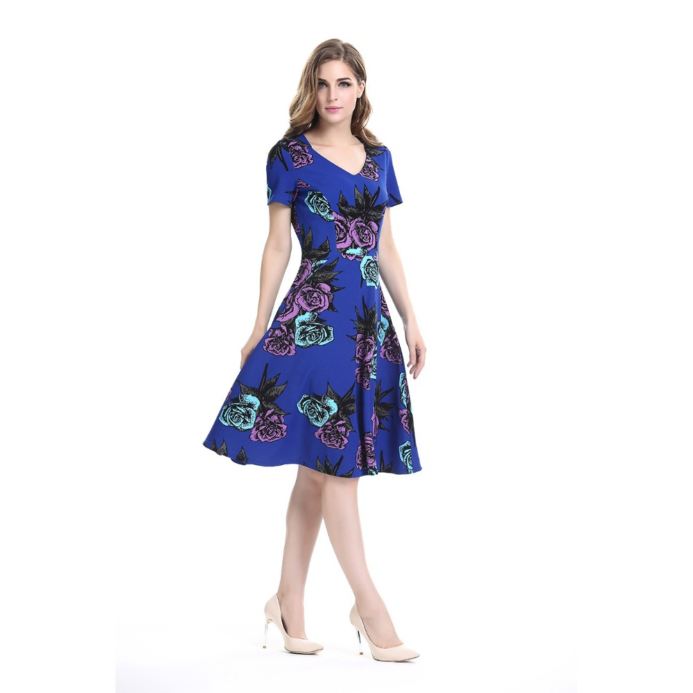 Women Floral Summer Dresses 2016 Sale Lady Fashion Office V-Neck Work Formal Party Evening Fit and Flare Skater Dress Large Size(China (Mainland))
