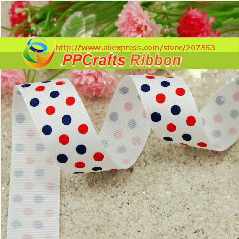 PPCrafts Ribbon Bulk/OEM 1 inch 25mm Blue/Red/White Dots Flags Printed Grosgrain ribbon 100yds/roll free shipping
