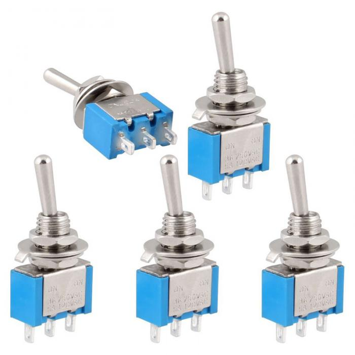 Professional Electrical Switches 5Pcs AC 250V 3A 125V 6A ON-OFF 2 Position SPDT Self Lock Toggle Switch Supplies AA