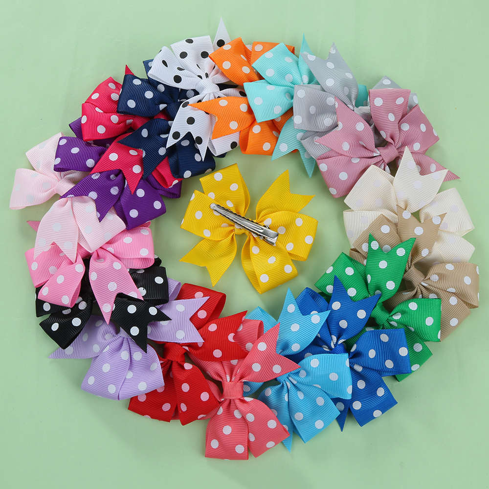 20 Pcs Make Baby Hair Clips Solid Dot Leopard Print Bow Hairpin Hair Clips for Baby Girls Kids Hair Accessories(China (Mainland))