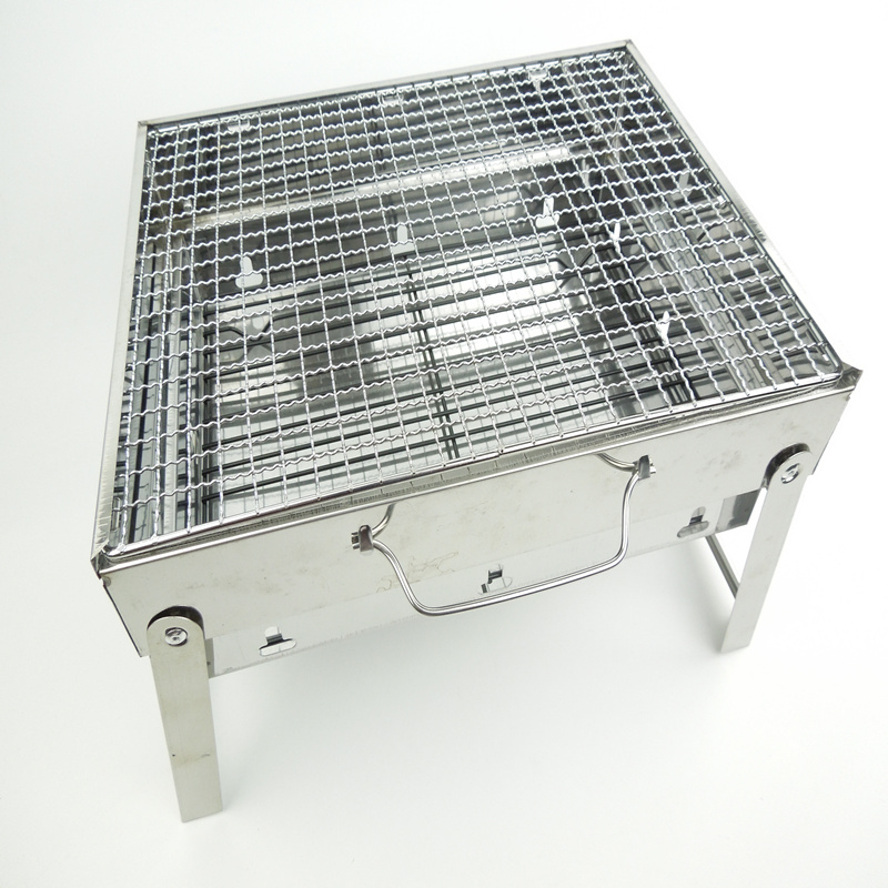 stainless steel folding portable BBQ barbecue grill,camping cookware using charcoal 1500g,white color(China (Mainland))