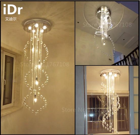 Купить Творческий высокое качество вилла лестница освещение пентхаус лестница лампа долго гостиной хрустальная люстра лестницы бесплатная доставка