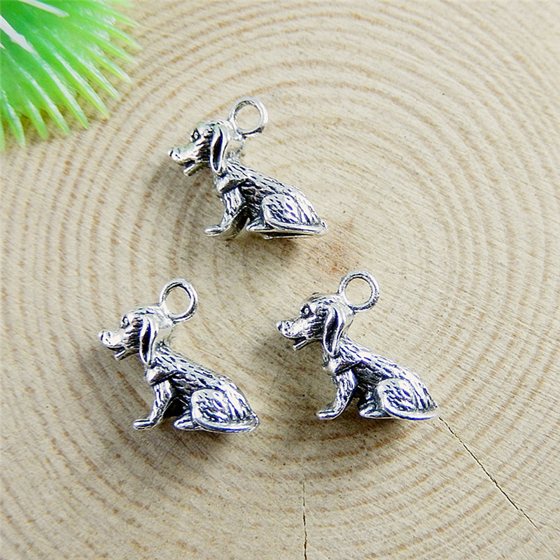 GraceAngie 20PCS Alloy Antique Silver Pendant Cute Mini 13*10mm Dog Charms Jewelry Accessory Crafts Handmade 51149(China (Mainland))