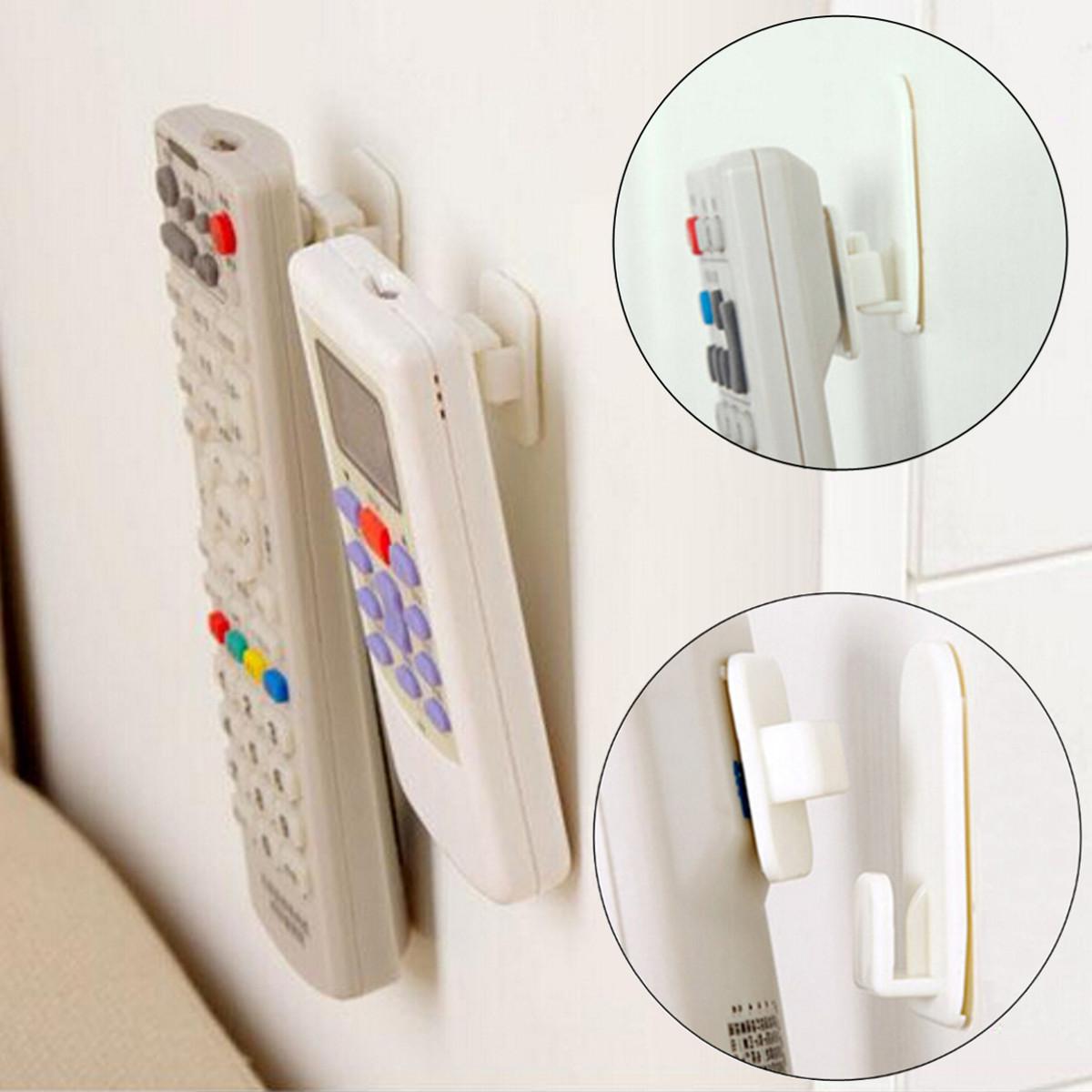 New 2Set(4Pcs) Self Adhesive Plastic Hooks Holder Remote Control Sticky Hook Hanger TV Air Conditioner Key Wall Storage(China (Mainland))
