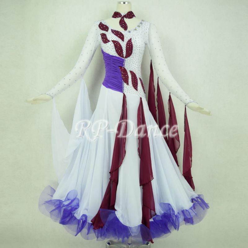Tailor-made Elegant Stretch Spandex gorgeous mix colors International Standard Ballroom Dance Competition Women's Dress(China (Mainland))