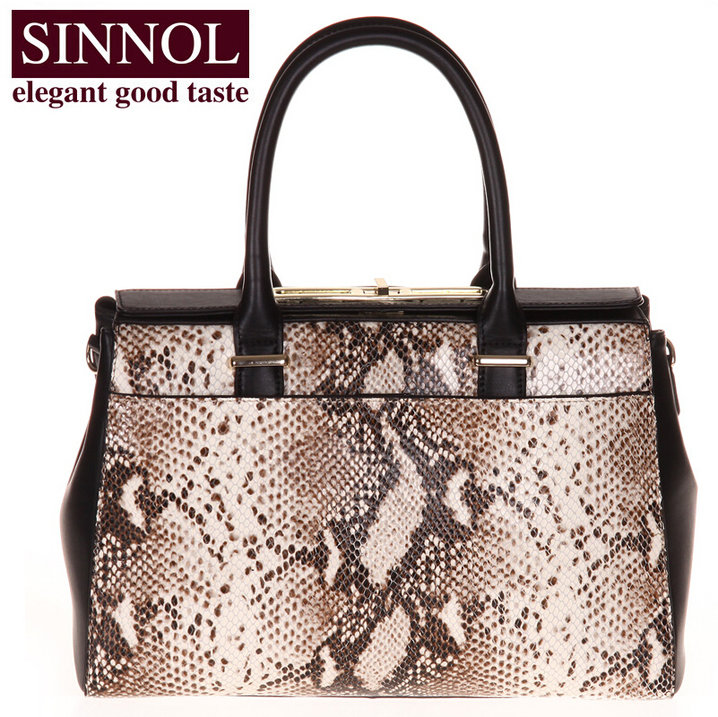 SINNOL Brand leather women bags luxury python lines on the new first layer leather handbag(China (Mainland))