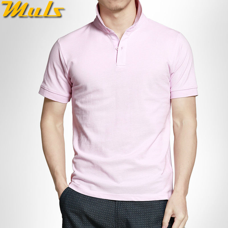 High quality Men polo shirts quick dry pure cotton short polos men top tees pink gray red S-3XL Muls male brand clothing MS16047(China (Mainland))