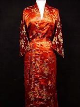 Chinese Women's Silk Satin Bath Gown Nightgown Yukata Kaftan Robe Gown With Belt  S M L XL XXL XXXL Dragon WR0028(China (Mainland))