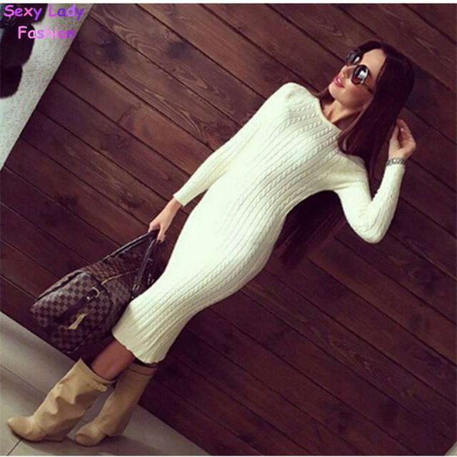 Женщин витой назад перерезал свитер платье сплошной дам Kleding jerseis вязаный тянуть роковой прыгун в длину миди пуловер свитер платья
