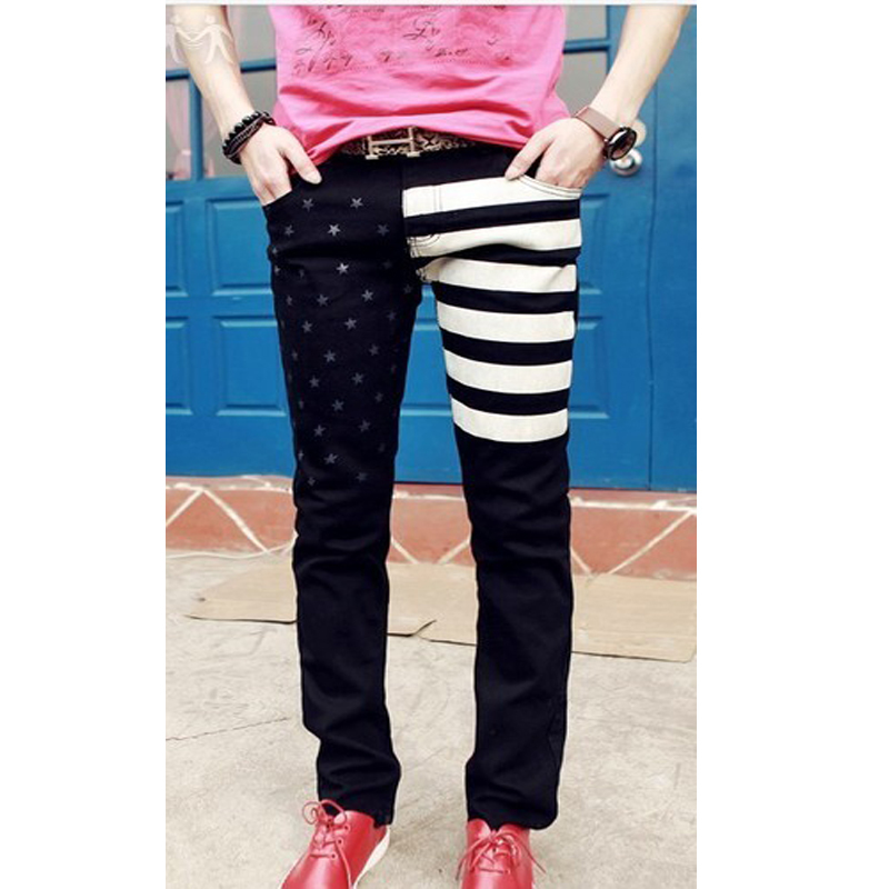 Korea Style Spring 2014 Male Water Wash Jeans American Flag Print Slim Pencil Fashion Popular Skinny Pants(China (Mainland))