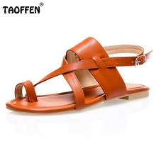 Women Flat Sandals Clip Toe Sandals Shoes Woman Lady Real Leather Shoes Fashion Brand Flip Flops Beach Shoes size 32-48 PA00627(China (Mainland))