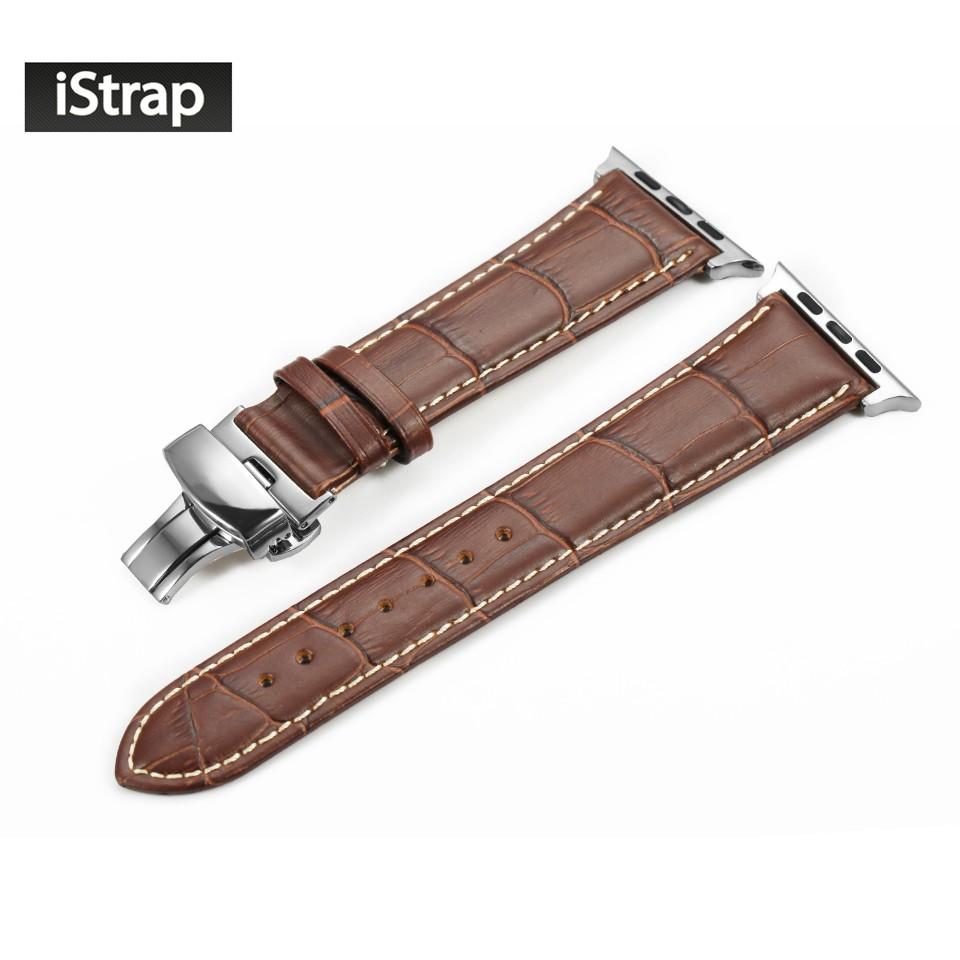 IStrap Прочный 38 мм 42 мм Натуральной Телячьей Кожи Ремешок Для Iwatch с Раскладывающейся Застежкой Из Нержавеющей Стали для Apple Watch группа