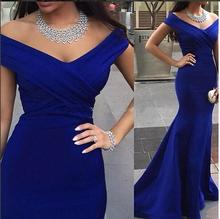 Robe De Soiree Hot Sell V-neck Floor Length Women Mermaid Royal Blue Long Evening Dress 2016(China (Mainland))