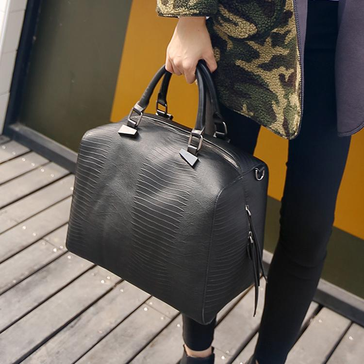 Гаджет  High fashion snake skin pattern leather boston bags women