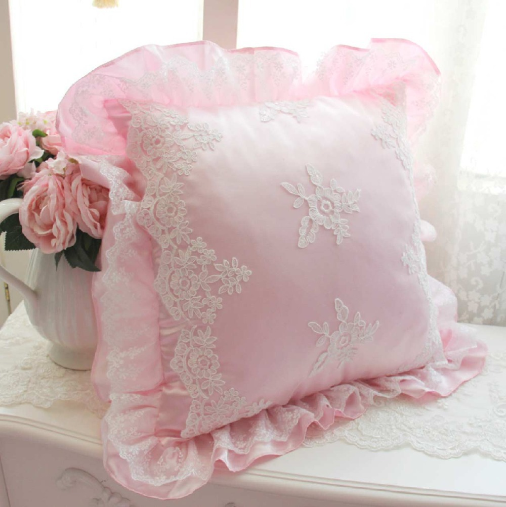 Princess pink white decorative throw pillow almofadas case girls fairyfair lace square heart candy pillow sham